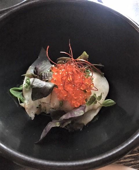 Stillwater abalone with garlic custard